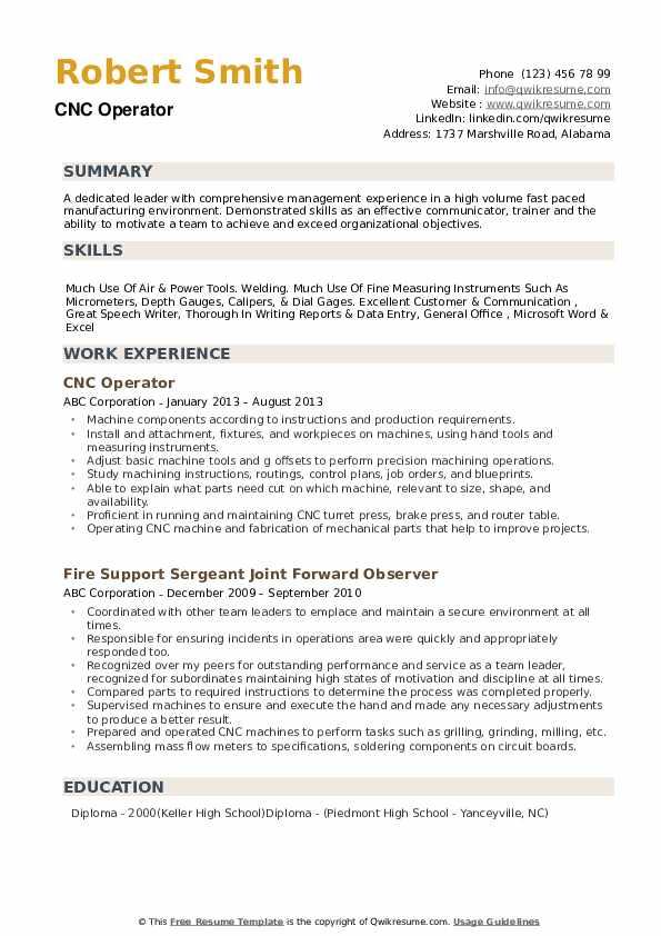 CNC Operator Resume example