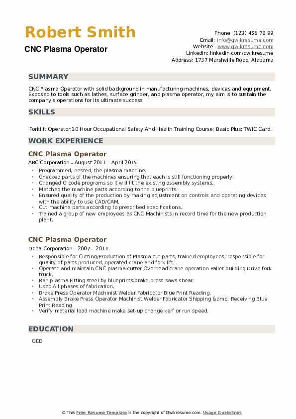 CNC Plasma Operator Resume example