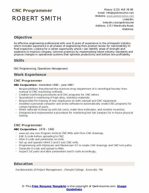 CNC Programmer Resume Example