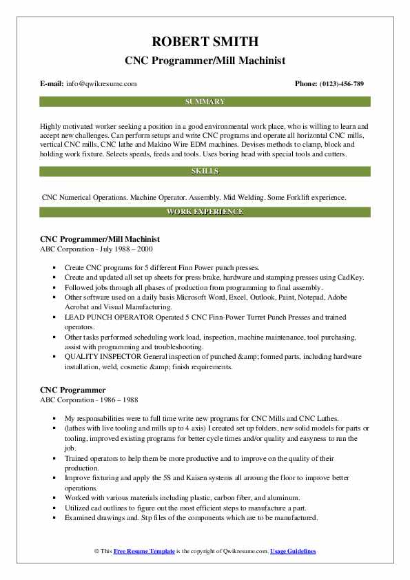 CNC Programmer Resume Samples | QwikResume