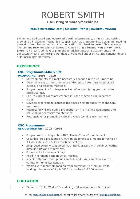 CNC Programmer/Machinist Resume Format