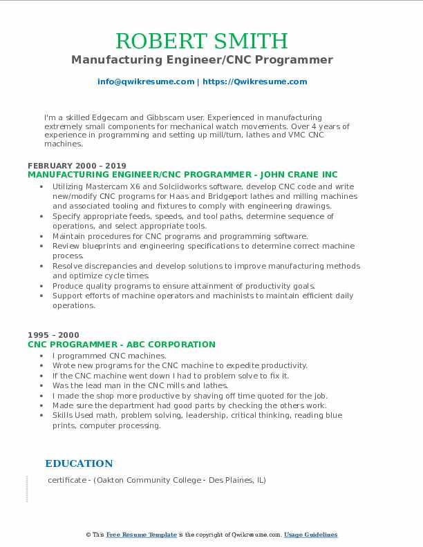 Manufacturing Engineer/CNC Programmer Resume Model