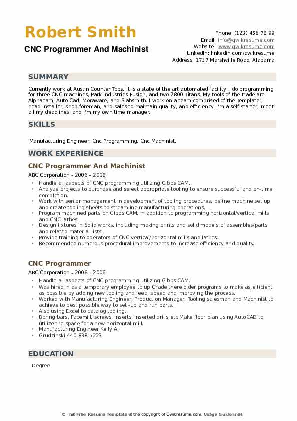 CNC Programmer And Machinist Resume Model