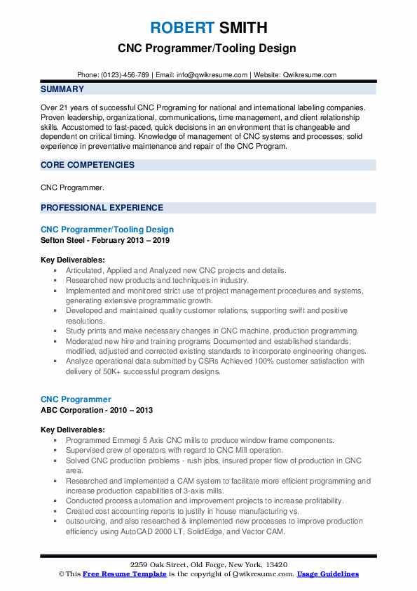 CNC Programmer/Tooling Design  Resume Sample