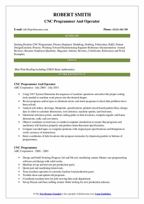 CNC Programmer And Operator Resume Sample