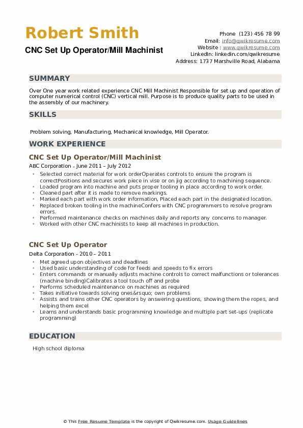 CNC Set Up Operator Resume example