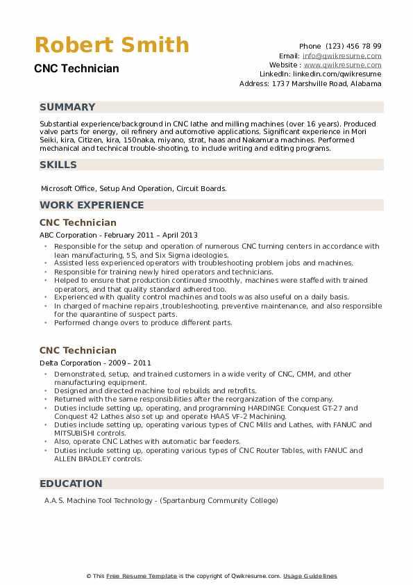 CNC Technician Resume example