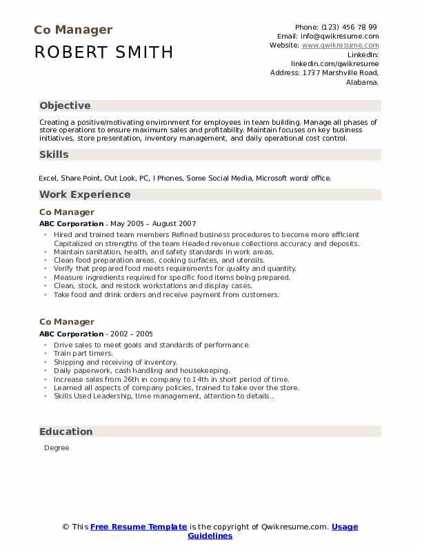 Co Manager Resume Model