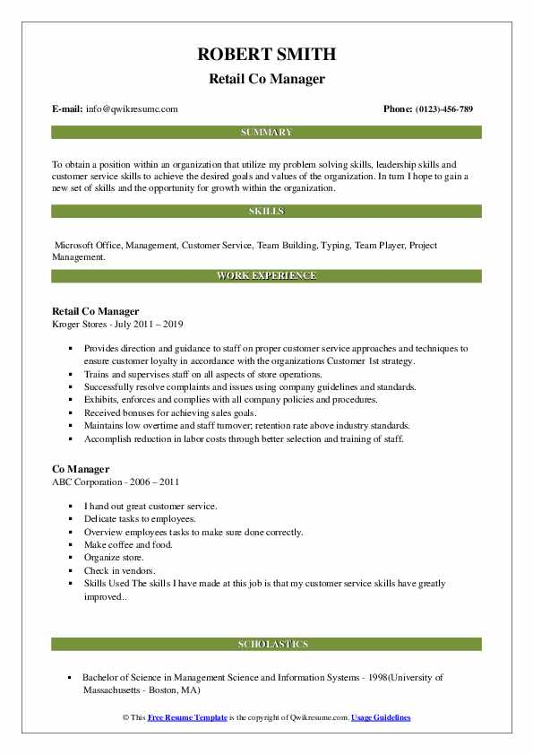 Retail Co Manager Resume Model