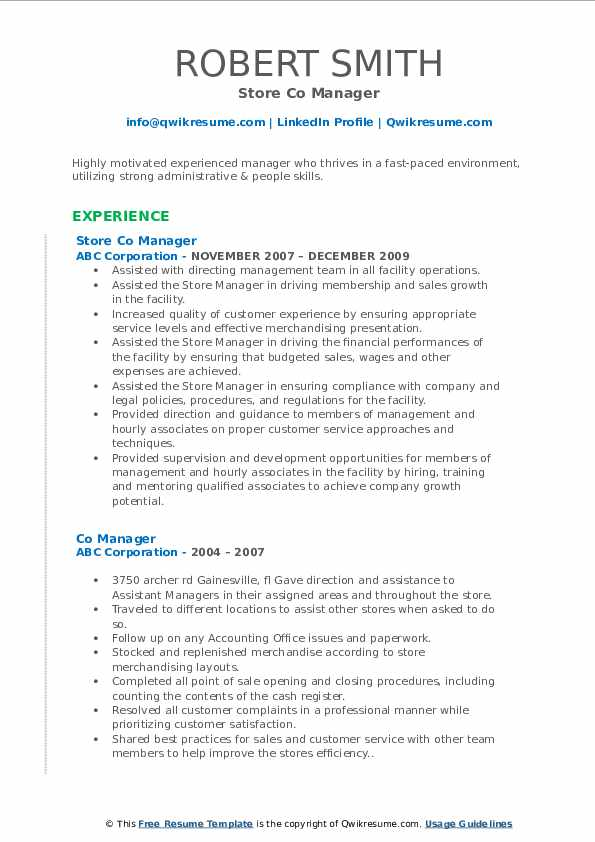 Store Co Manager Resume Template
