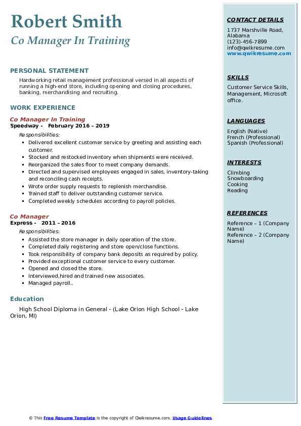Co Manager Resume Samples QwikResume