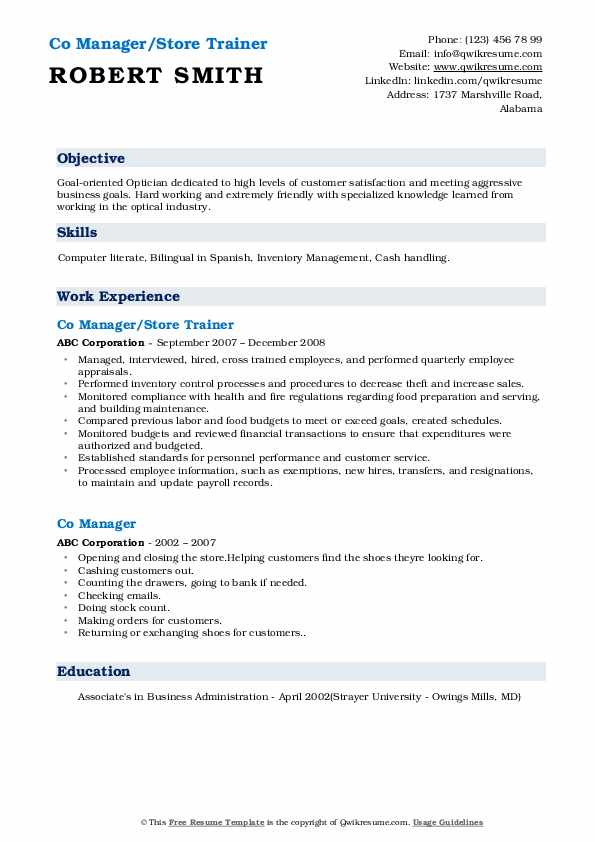 Co Manager/Store Trainer  Resume Sample