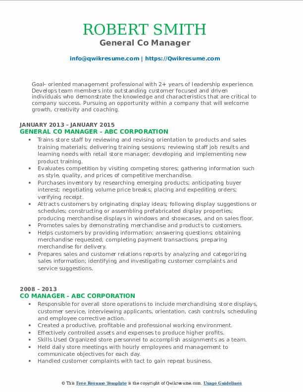 General Co Manager Resume Format
