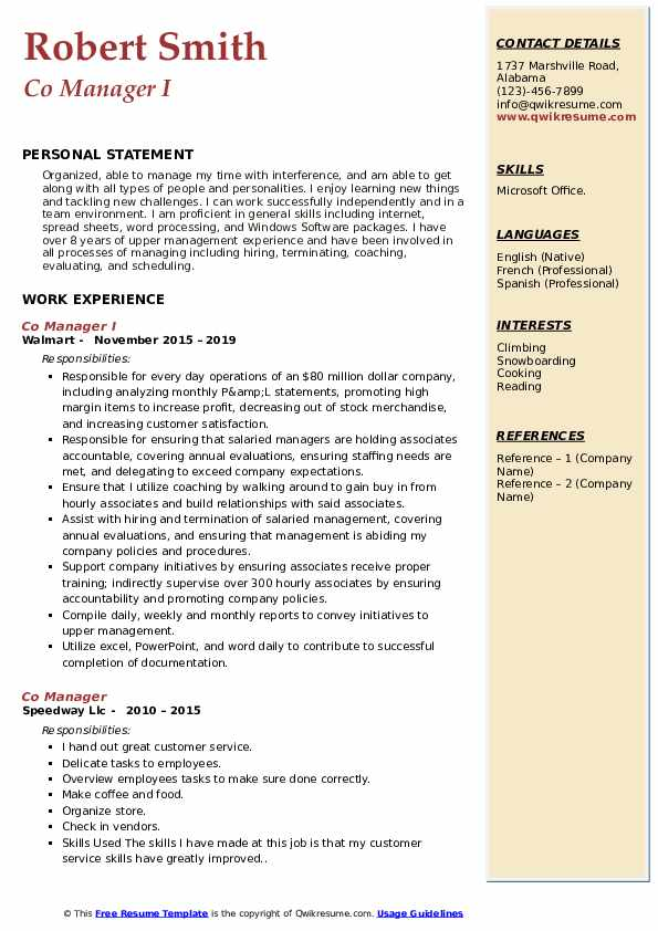 Co Manager I Resume Template