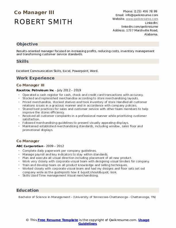 Co Manager III Resume Format