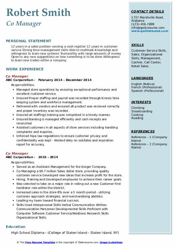Co Manager Resume example