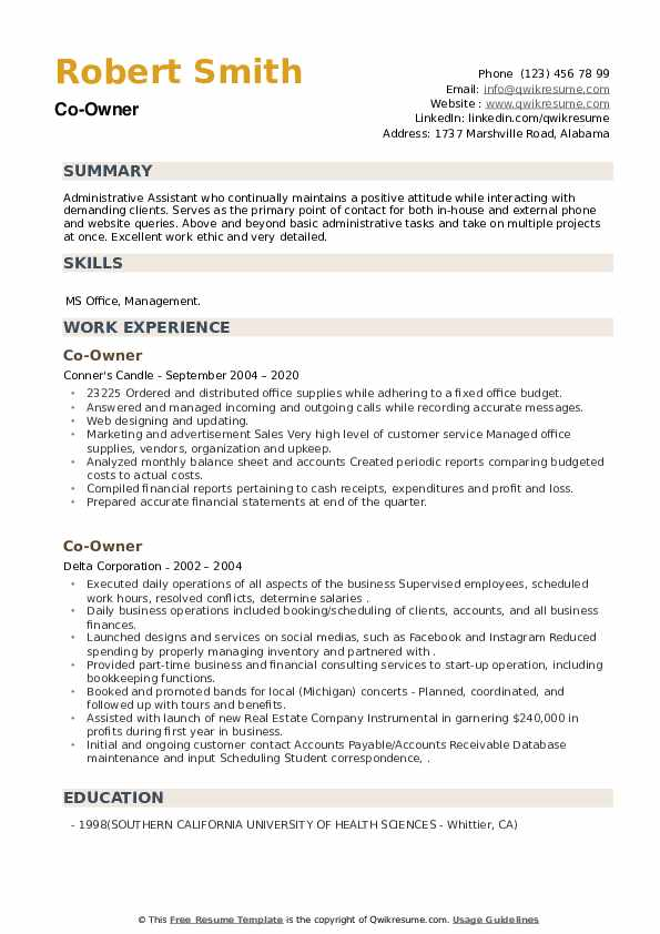 Co-Owner Resume example