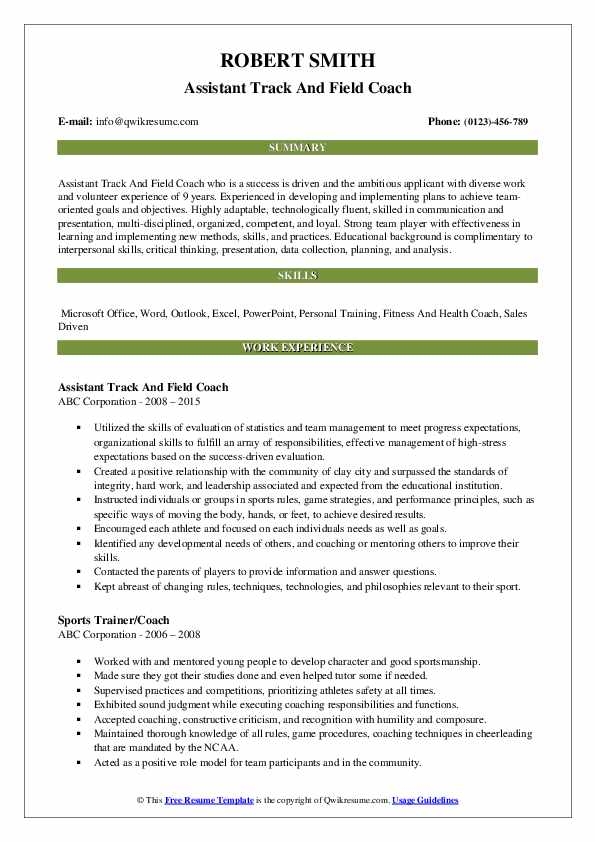 Assistant Track And Field Coach Resume Model