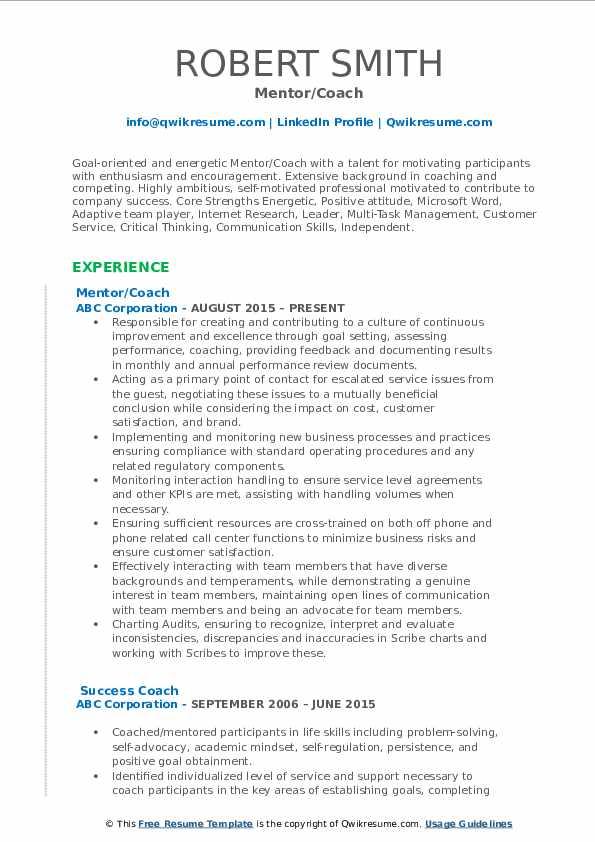 Mentor/Coach Resume Example