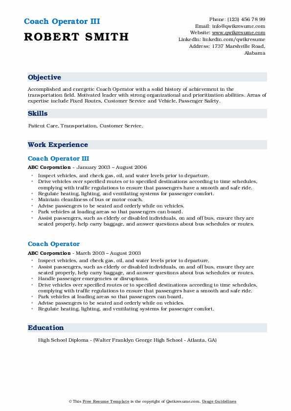 Coach Operator III Resume Example