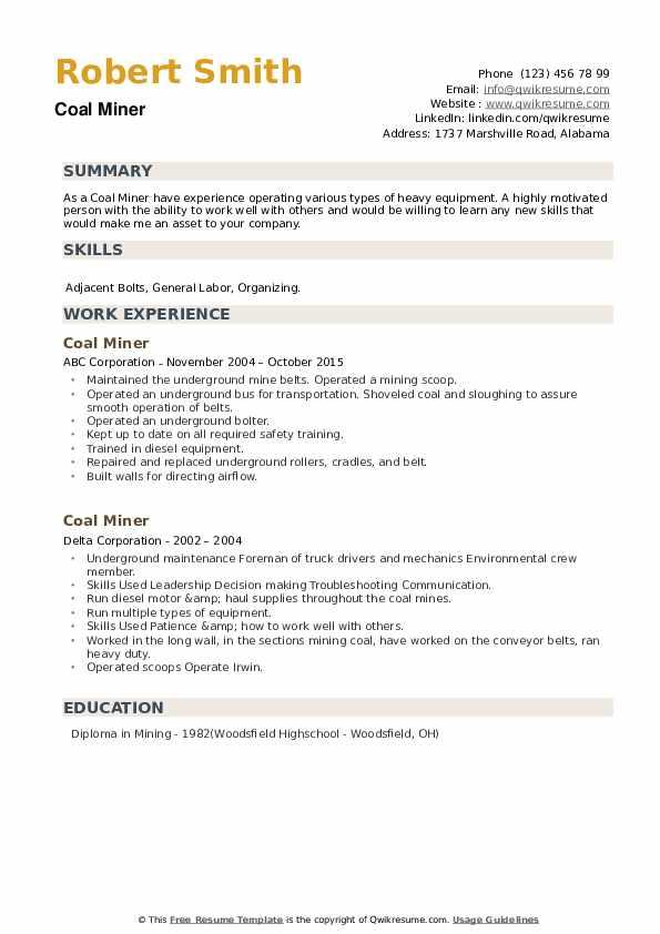 Coal Miner Resume example