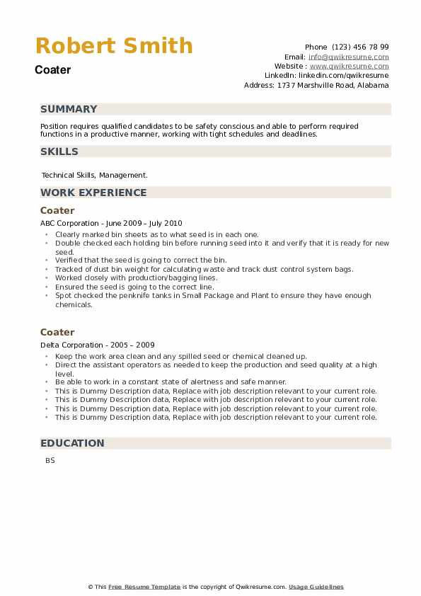 Coater Resume example