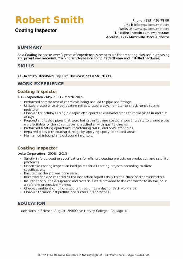 Coating Inspector Resume example