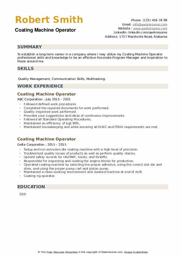 Coating Machine Operator Resume example
