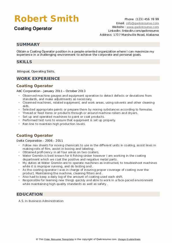 Coating Operator Resume example