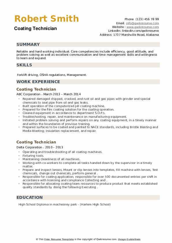 Coating Technician Resume example