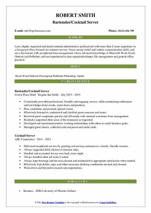 Bartender/Cocktail Server Resume Model