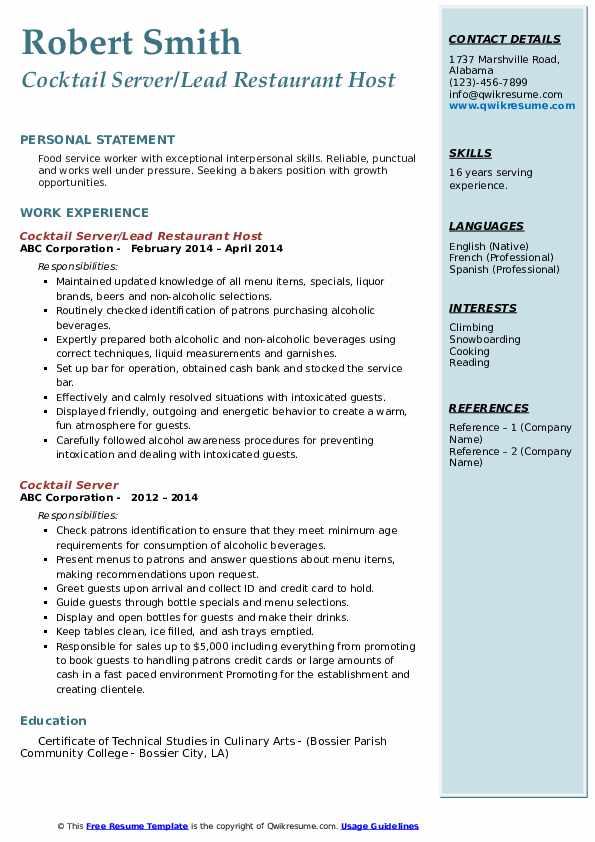 Cocktail Server/Lead Restaurant Host Resume Example