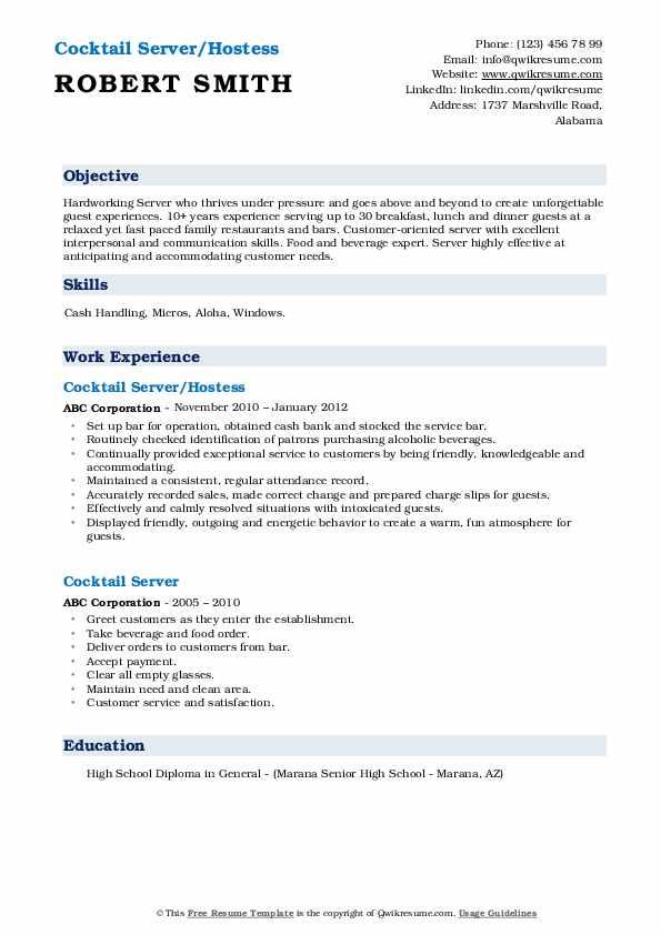Cocktail Server/Hostess Resume Template