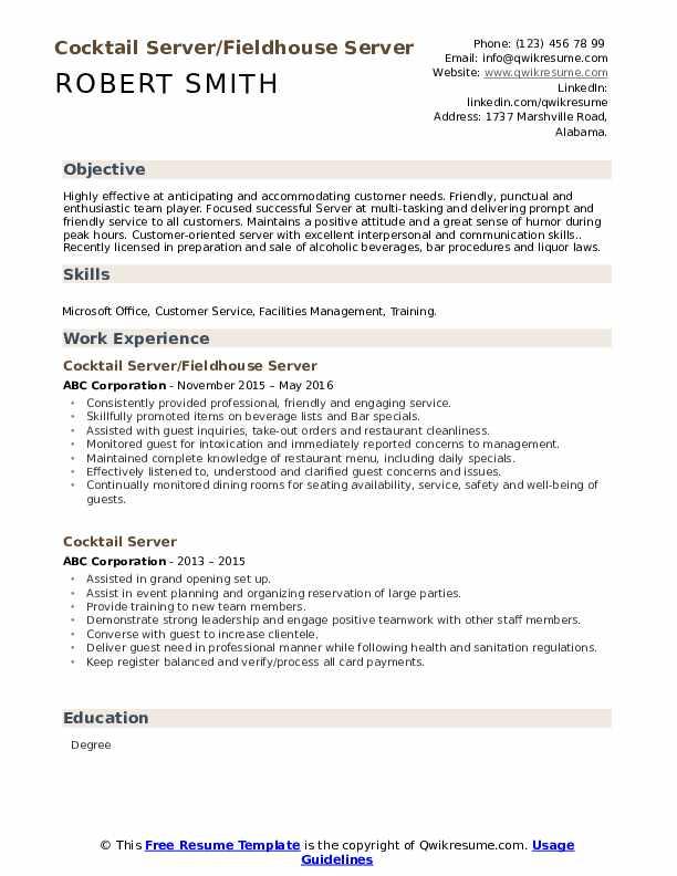 Cocktail Server/Fieldhouse Server Resume Format