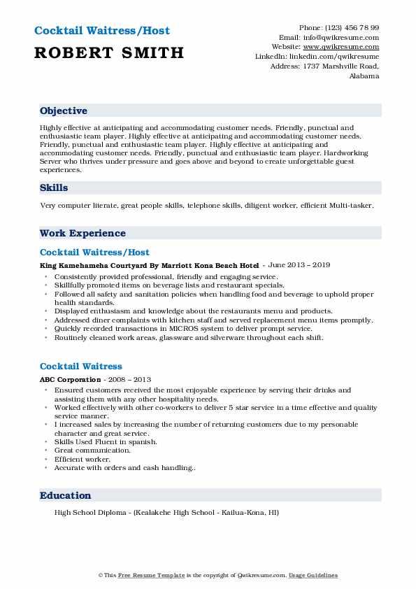 Cocktail Waitress/Host Resume Sample