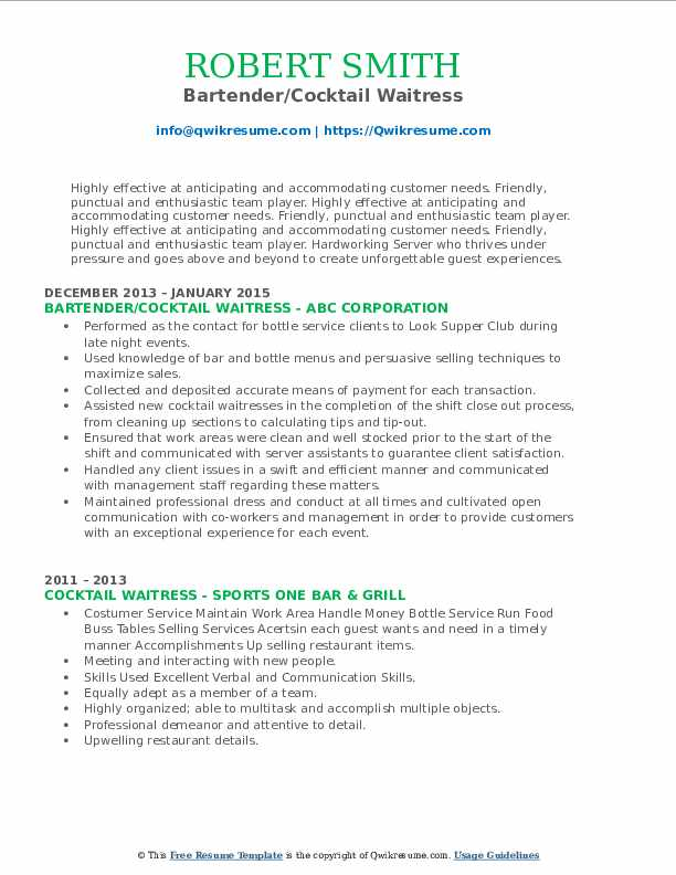 cocktail waitress resume samples