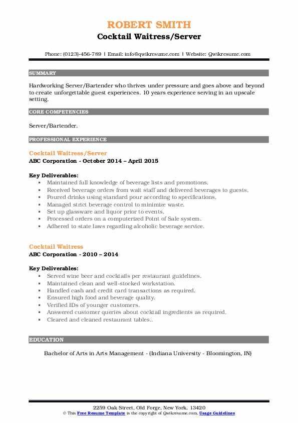 Cocktail Waitress/Server Resume Model
