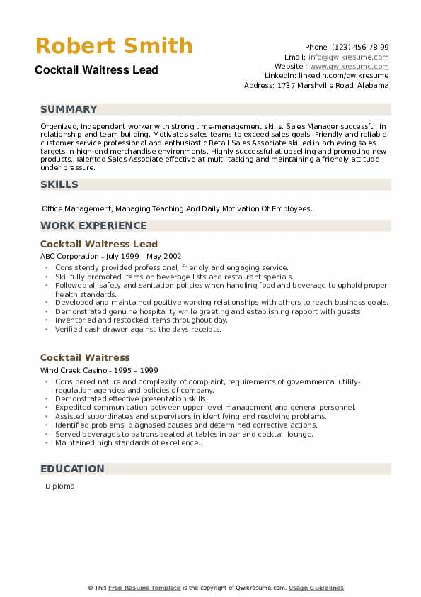 Cocktail Waitress Lead Resume Format