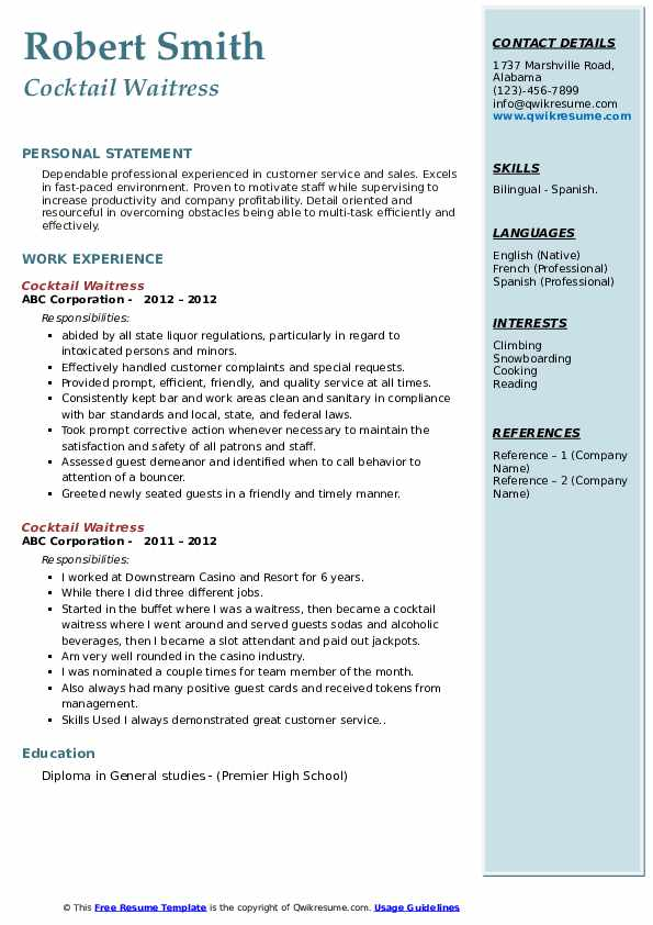 cocktail waitress resume samples