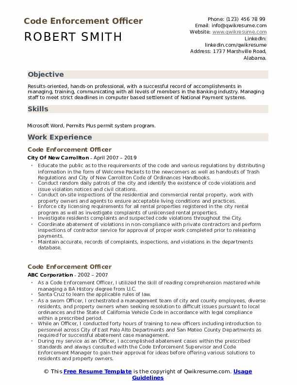 Code Enforcement Officer Resume Model