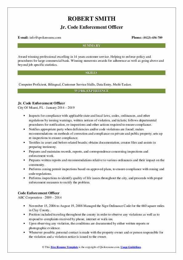Jr. Code Enforcement Officer Resume Template