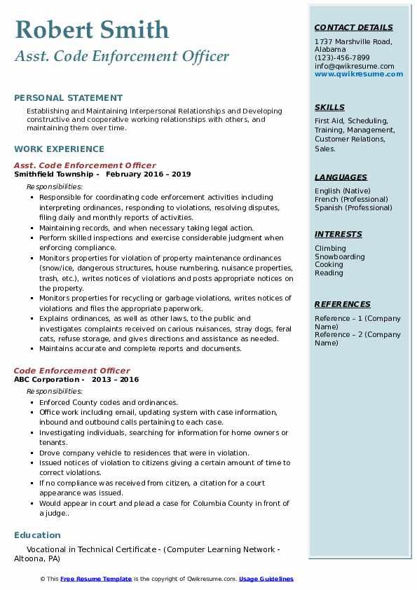 Asst. Code Enforcement Officer Resume Example