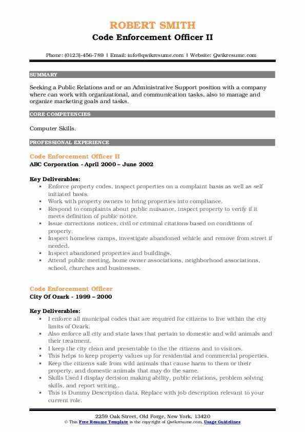 Code Enforcement Officer II Resume Format