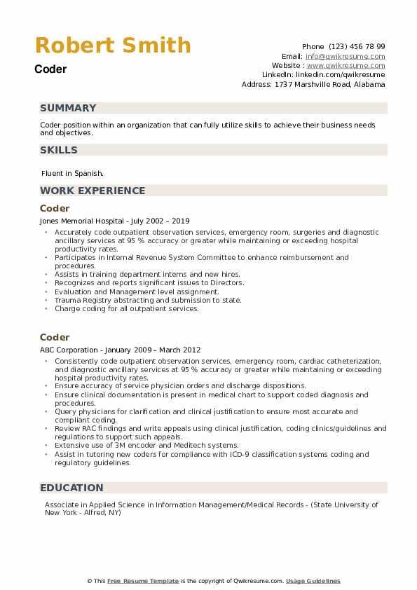 Coder Resume example