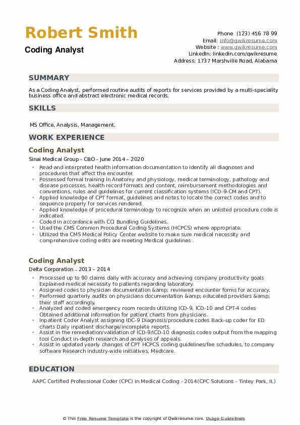 Coding Analyst Resume example