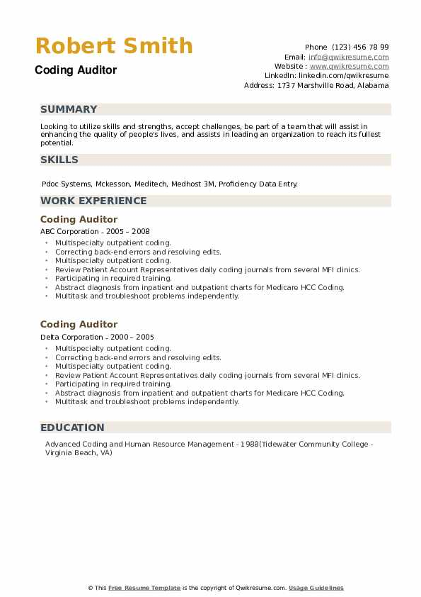 Coding Auditor Resume example