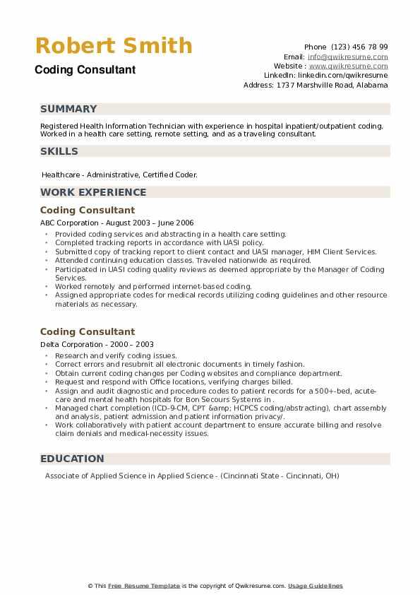 Coding Consultant Resume example