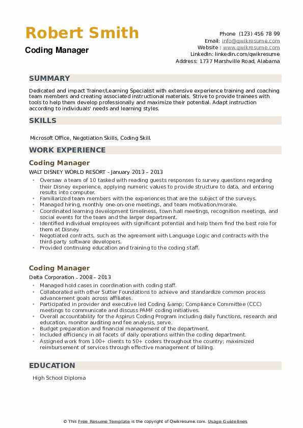 Coding Manager Resume example