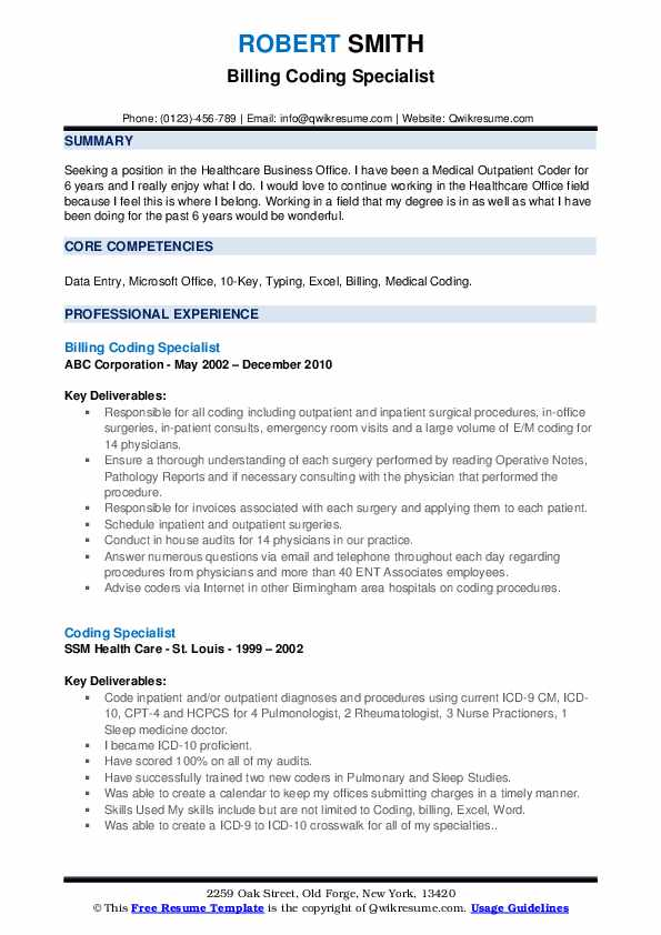 Billing Coding Specialist Resume Example