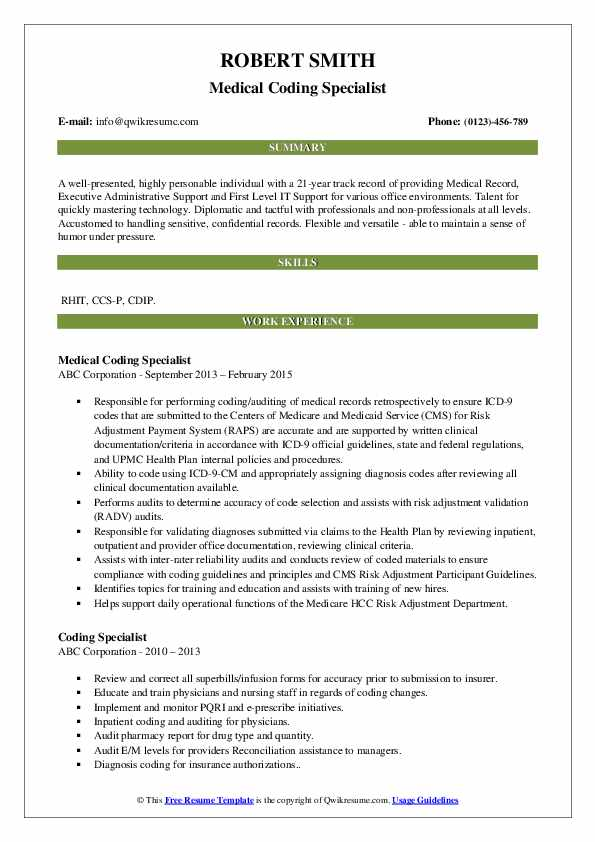 Medical Coding Specialist Resume Template